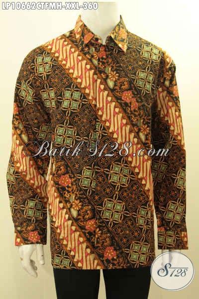 Hem Batik Pria Big Size, Busana Batik Jumbo Pria Gemuk Lengan Panjang Full Furing Motif Modern Klasik Proses Cap Tulis Harga 360K [LP10662CTFMH-XXL]