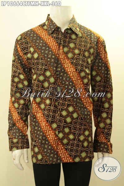 Jual Online Batik Hem Lengan Panjang Size XXL, Batik Kemeja Solo Asli Proses Cap Tulis Pakai Lapisan Furing, Pria Gemuk Tampil Mewah Berkelas