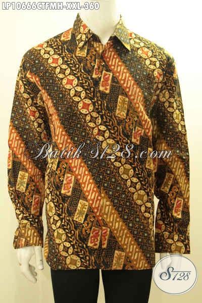 Batik Hem Pria Masa Kini, Kemeja Batik Solo Lengan Panjang Size XXL Pake Furing Bahan Adem Motif Mewah Cap Tulis Harga 360K