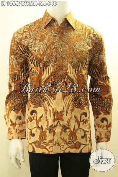 Model Baju Batik Pria Lengan Panjang Pakai Lapisan Furing, Kemeja Batik Istimewa Yang Membuat Lelaki Gemuk Gagah Berwibawa [LP10667BTFMH-M , L]