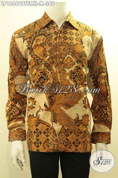 Produk Baju Batik Pria Terbaru, Pakaian Batik Kerja Elegan Lengan Panjang Motif Klasik Kombinasi Tulis, Pantas Juga Untuk Rapat, Size M