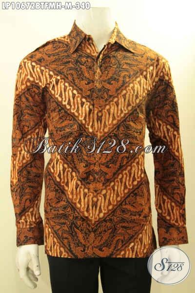 Model Baju Kemeja Batik Cowok Lengan Panjang Terkini, Hem Batik Istimewa Pake Lapisan Furing Nan Berkelas Motif Klasik Kombinasi Tulis Harga 340K [LP10672BTFMH-M]