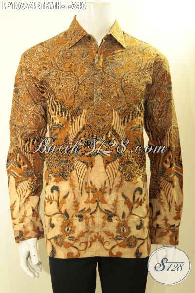 Jual Baju Kemeja Batik Solo Istimewa Lengan Panjang Full Furing, Pakaian Batik Berkelas Menunjang Penampilan Lelaki Lebih Sempurna [LP10674BTFMH-L]