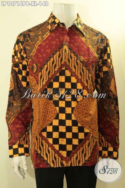 Batik Kemeja Lengan Panjang Desain Mewah Motif Klasik Printing Cabut, Busana Batik Solo Asli Bahan Adem Kwalitas Istimewa Hanya 148K, Size XL