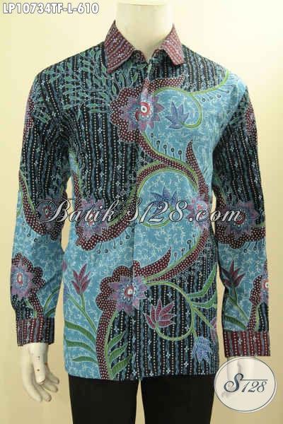 Jual Baju Kemeja Batik Mahal Size L, Hem Batik Formal Full Furing Lengan Panjang Motif Klasik Bahan Adem Warna Bagus, Penampilan Gagah Elegan Dan Berwibawa