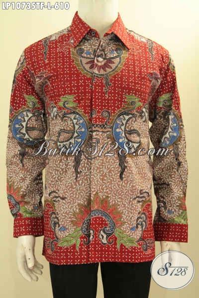 Hem Batik Motif Mewah, Baju Batik Atasan Lengan Panjang Pria Size L Daleman Full Furing Proses Tulis Asli, Menunjang Penampilan Lebih Sempurna