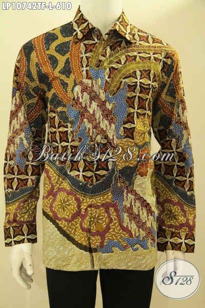 Hem Batik Kerja Desain Formal Lengan Panjang Mewah Khas Pejabat, Baju Batik Atasan Size L Full Furing Motif KLasik Tulis Asli, Di Jual Online 610 Ribu