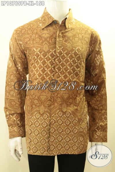 Pakaian Batik Pria Model Terbaru Lengan Panjang, Hem Batik Printing Warna Coklat Emas Nan Mewah Motif Bagus, Tampil Berkelas Hanya 100 Ribuan, Size XL