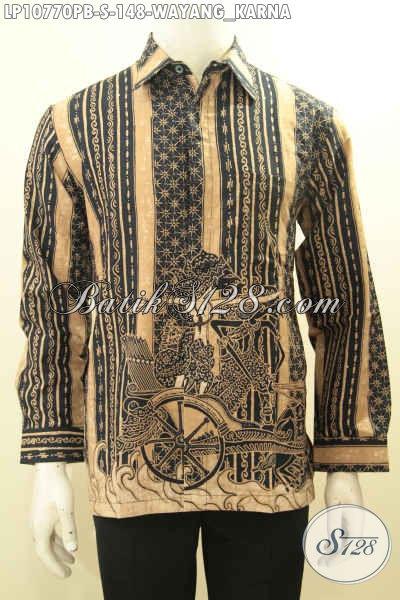 Baju Batik Hem Lengan Panjang Motif Wayang Karna, Busana Batik Solo Elegan Terbaru Proses Printing Cabut Bahan Adem Nyaman Buat Kerja Dan Acara Resmi, Size S