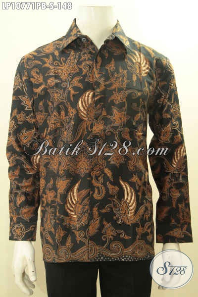 Hem Batik Pria Muda, Kemeja Batik Solo Elegan Lengan Panjang Motif Bagus Proses Printing Yang Membuat Pria Terlihat Gagah Dan Tampan Mempesona Hanya 158K, Size S