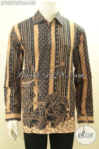 Model Baju Batik Lengan Panjang Pria Size L, Kemeja Batik Halus Motif Klasik Printing Cabut Harga Terjangkau, Bahan Adem Nyaman Di Pakai Hanya 148K [LP10774PB-L]