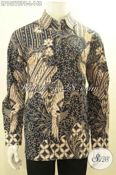 Batik Hem Elegan Motif Bagus Proses Printing Cabut, Busana Batik Solo Untuk Pria Tampil Gagah Model Lengan Panjang Harga 100 Ribuan, Size L