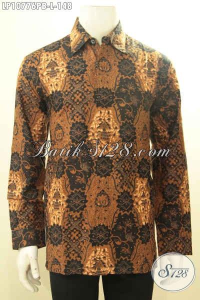 Hem Batik Solo Elegan Untuk Pria Terlihat Berwibawa, Baju Batik Motif Klasik Printing Cabut Nan Berkelas Harga 148K, Pas Untuk Acara Resmi, Size L
