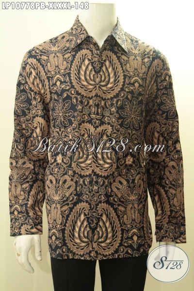 Aneka Busana Batik Pria Gemuk Motif Klasik Lengan Panjang, Pakaian Batik Solo Jawa Tengah Printing Cabut, Pas Banget Untuk Rapat Dan Kondangan, Size XL – XXL