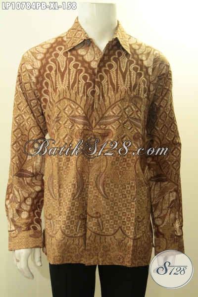 Batik Batik Hem Elegan Pria Lengan Panjang, Busana Batik Solo Halus Bahan Adem Motif Bagus Proses Printing Hanya 100 Ribuan, Size XL