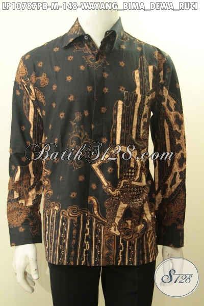 Model Baju Batik Elegan Istimewa Motif Wayang Bima Dewa Ruci, Kemeja Batik Harga Terjangkau Kwalitas Bagus Bahan Adem Nyaman Di Pakai Harian [LP10787PB-M]