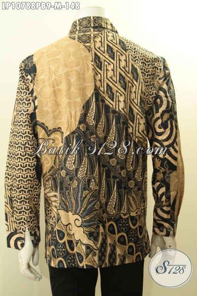 Pakaian Batik Elegan Mewah, Hem Batik Jawa Tengah Halus Legan Panjang Ukuran M Motif Klasik Printing Cabut, Pas Untuk Kondangan