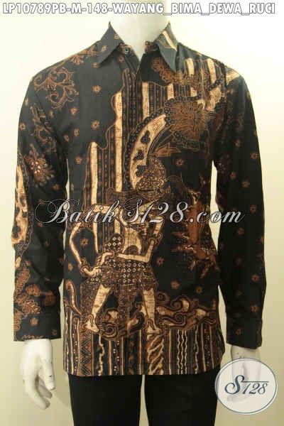 Busana Batik Pria Untuk Tampil Gagah Berwibawa Motif Wayang Bima Dewa Ruci, Baju Batik Lengan Panjang Printing Cabut, Pas Banget Buat Acara Resmi, Size M