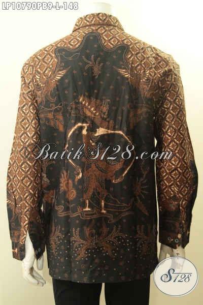 Baju Hem Batik Kerja Lengan Panjang Motif Klasik, Pakaian Batik Solo Halus  Proses Printing Cabut, Pria Terlihat Berwibawa Dan Menawan, Size L
