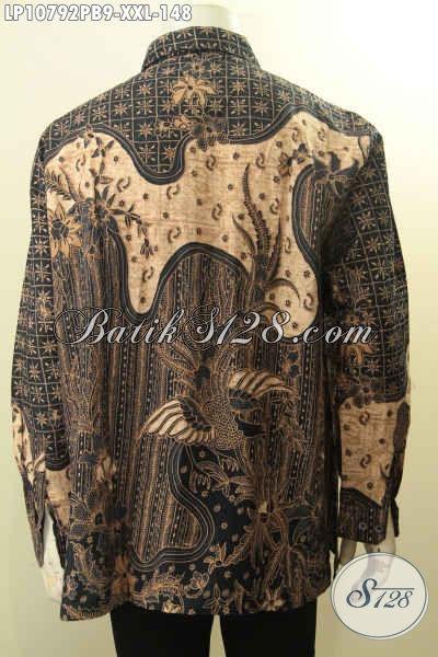 Busana Batik Spesial Untuk Lelaki Gemuk, Pakaian Batik Solo Istimewa Lengan Panjang Motif Klasik Bahan Halus Adem Nyaman Untuk Ngantor Dan Kondangan, Size XXL
