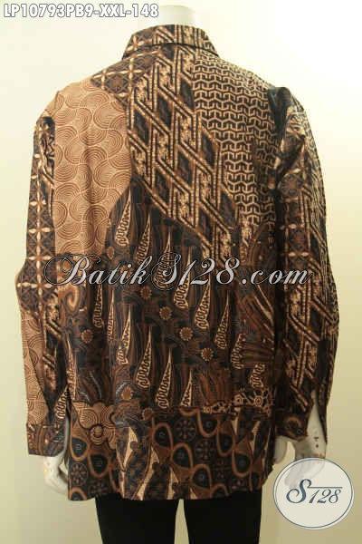 Baju Batik Halus Ukuran L3, Hem Batik Motif Klasik Lengan Panjang Bahan Adem Proses Printing Asli Buatan Solo, Cocok Untuk Kerja Dan Rapat, Size XXL