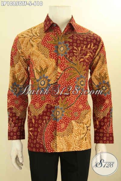 Kemeja Batik Pria Pejabat, Busana Batik Tulis Asli Mewah Halus Lengan Panjang Full Furing Ukuran S, Penampil Lebih Gagah Berwibawa