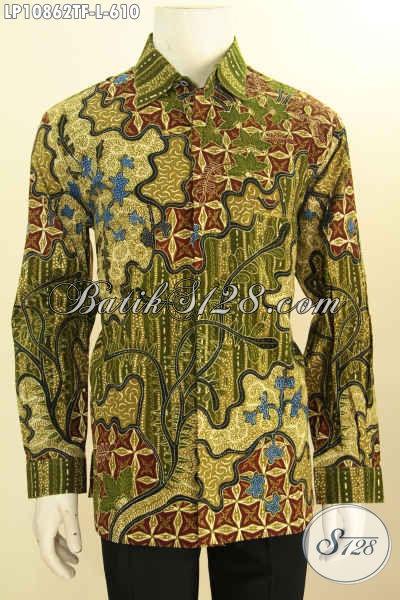 Baju Hem Batik Premium Model Lengan Panjang Terkini, Pakaian Batik Mewah Pria Ukuran L Bahan Halus Motif Mewah Proses Tulis Daleman Pake Furing, Pas Banget Untuk Acara Formal