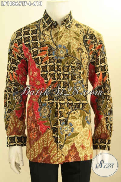 Batik Hem Kerja Lengan Panjang Mewah, Busana Batik Resmi Premium Pria Size L, Hadir Dengan Daleman Full Furing Motif Bagus Dan Berkelas ProsesTulis Hanya 610K, Size L