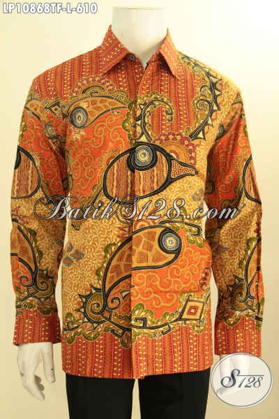 Busana Batik Solo Halus Lengan Panjang Full Furing Untuk Tampil  Terlihat Mewah, Kemeja Batik Tulis Asli Cocok Untuk Pria Pejabat Dan Eksekutif, Size L