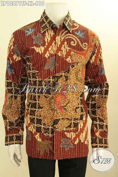 Baju Batik Elegan Mewah Lengan Panjang Pria Dewasa, Kemeja Batik Solo Premium Full Furing Bahan Adem Motif Mewah Tulis Asli, Penampilan  Berkelas Dan Gagah, Size XL
