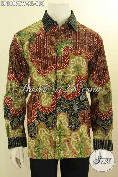 Baju Kemeja Batik Mewah Solo Jawa Tengah, Busana Batik Elegan Full Nan Berkelas, Bahan Halus Motif Tulis Asli, Cocok Untuk Kondangan Dan Rapat, Size XL