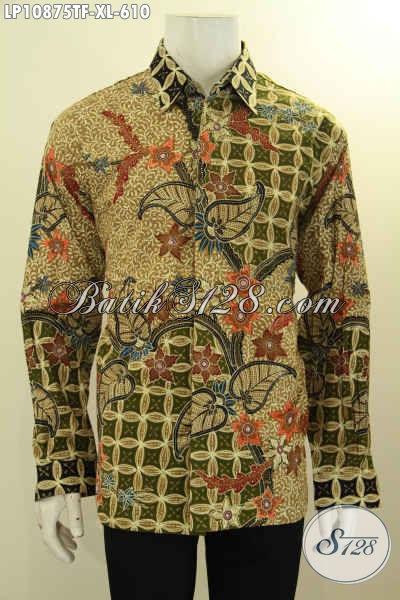 Kemeja Batik Pria Ukuran XL Lengan Panjang Full Furing, Busana Batik Istimewa Nan Berkelas Motif Klasik Tulis Asli Bahan Adem Nyaman Di Pakai Harian