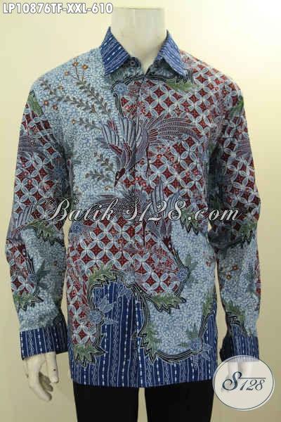 Batik Hem Mewah Solo Jawa Tengah Lengan Panjang Spesial Untuk Lelaki Gemuk, Busana Batik Big Size L3 Daleman Full Furing, Penampilan Lebih Macho