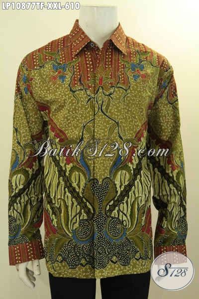 Baju Kemeja Batik Solo Premium Lengan Panjang Jumbo, Hem Batik Pria Gemuk Ukuran XXL Motif Klasik Mewah Tulis Asli, Bikin Penampilan ELegan Berwibawa