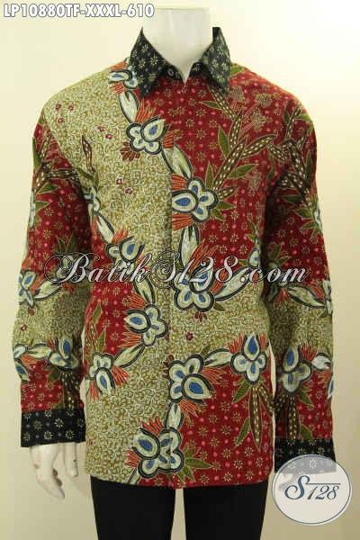 Jual Busana Batik Premium Masa Kini, Hem Batik Mewah Halus Full Furing Lengan Panjang Jumbo Bahan Halus Motif Mewah Harga 610K, Size XXXL