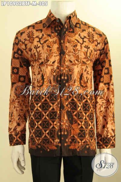Kemeja Batik Kombinasi Tulis Lengan Panjang Full Furing, Pakaian Batik Istimewa Bahan Adem Motif Elegan Klasik, Pas Untuk Kondangan, Size M