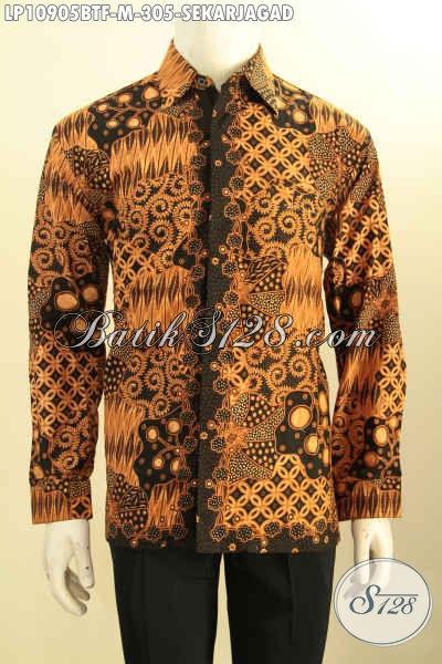 Produk Baju Batik Elegan Motif Klasik Sekarjagad, Kemeja Kerja Lengan Panjang Full Furing Kwalitas Premium, Cocok Juga Untuk Kondangan, Size M