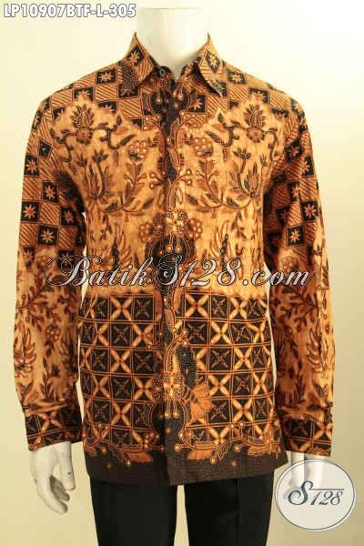Pakaian Batik Istimewa Untuk Pria Terlihat Gagah Mempesona, Kemeja Batik Elegan Lengan Panjang Motif Klasik Pake Furing, Pas Banget Buat Ngantor Dan Acara Resmi, Size L