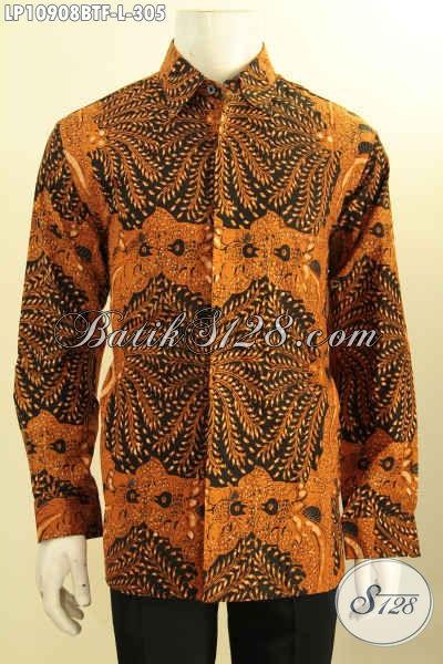 Produk Busana Batik Elegan Motif Klasik Proses Kombinasi Tulis, Baju Batik Solo Terbaik Untuk Pria Masa Kini Desain Berkelas Daleman Full Furing, Tampil Makin Berwibawa, Size L