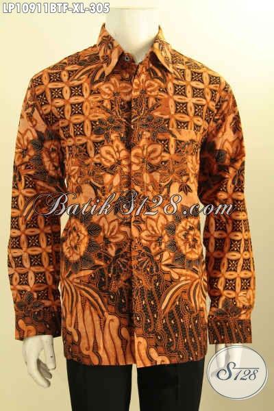 Pakaian Batik Solo Lengan Panjang Motif Klasik, Busana Batik Kombinasi Tulis Kwalitas Bagus Daleman Full Furing, Bisa Untuk Rapat Dan Kondangan, Size XL