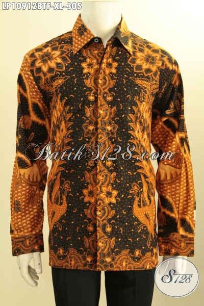 Kemeja Lengan Panjang Pria Dewasa Motif Klasik, Baju Batik Kombinasi Tulis Full Furing Kwalitas Premium, Pilihan Tepat Tampil Gagah Menawan, Size XL