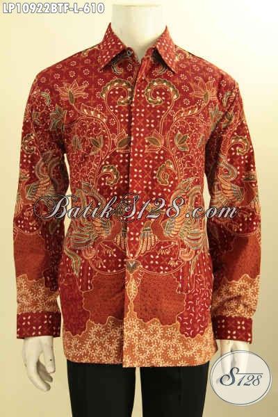 Kemeja Batik Pejabat Lengan Panjang Full Furing, Pakaian Batik Mewah Motif Bagus Proses Tulis Asli, Penampilan Lebih Sempurna
