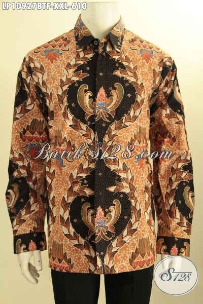 Model Baju Batik Jawa Tengah Lengan Panjang Jumbo, Hem Batik Premium Pria Gemuk Motif Bagus Proses Tulis Asli Daleman Full Furing Hanya 610 Ribu Saja [LP10927TF-XXL]