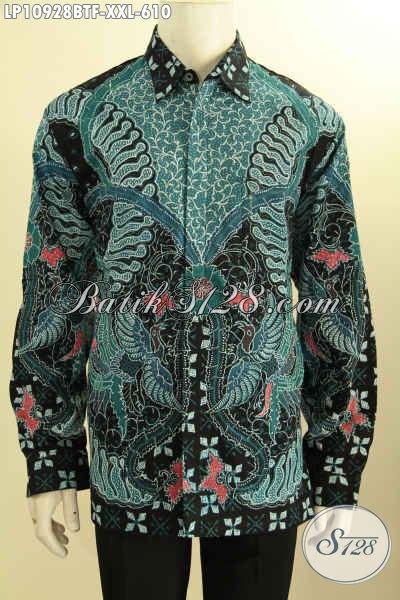 Hem Batik Tulis Mewah Lengan Panjang Warna Hijau Spesial Untuk Lelaki Gemuk, Produk Baju Batik Istimewa Lengan Panjang Full Furing, Pas Untuk Kerja Dan Acara Formal