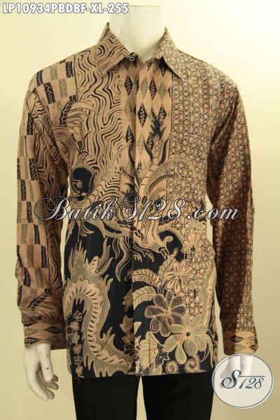 Hem Batik Pria Lengan Panjang Full Furing, Produk Pakaian Batik Nan Berkelas Bahan Kain Dolby Motif Bagus Printing Cabut, Pas Banget Untuk Acara Resmi