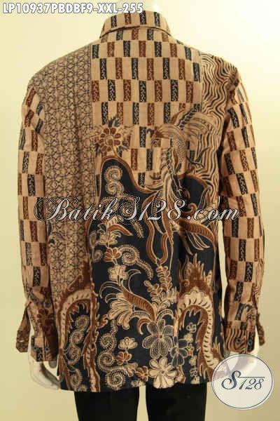 Baju Kemeja Batik Pria Gemuk, Hem Batik Bahan Dolby Big Size Lengan Panjang Full Furing Kwalitas Istimewa Motif Bagus Proses Printing Cabut Harga 255K [LP10937PBDBF-XXL]