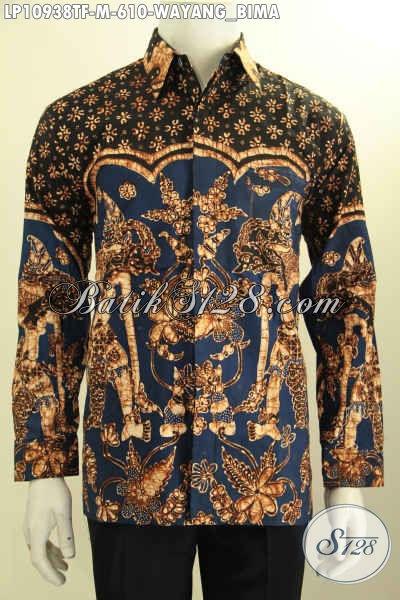 Kemeja Batik Premium Untuk Pria Muda Karir Sukses, Busana Batik Tulis Mewah Motif Wayang Bima Lengan Panjang Full Furing, Penampilan Gagah Berwibawa