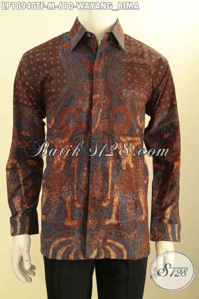 Hem Batik Tulis Pria Branded, Kemeja Batik Full Furing Model Lengan Panjang Motif Wayang Bima Bahan Adem, Pas Banget Buat Ngantor Atau Acara Resmi, Tampil Gagah Menawan