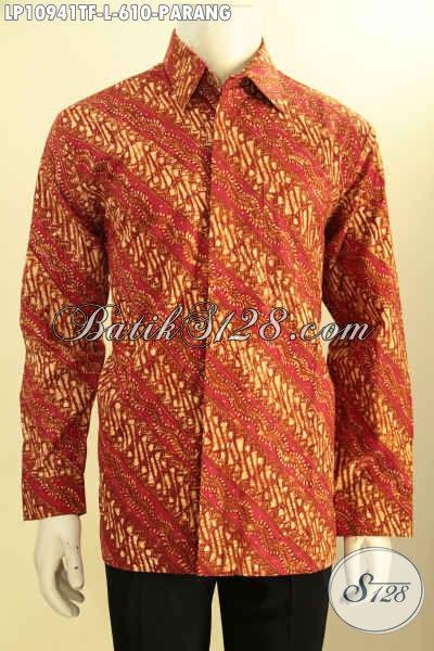 Baju Batik Solo Elegan Lengan Panjang Premium, Pakaian Batik Mewah Full Furing Motif Parang Exclusive Untuk Acara Formal Dan Berkelas, Bahan Halus Proses Tulis Asli Harga 600 Ribuan Saja