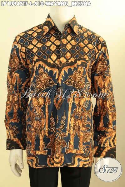 Batik Kemeja Istimewa Proses Tulis, Busana Batik Premium Motif Wayang Kresna Desain Lengan Panjang Nan Berkelas Bahan Adem, Tampil Lebih Percaya Diri [LP10942TF-L]